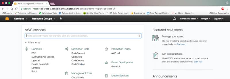 AWS管理コンソール画面